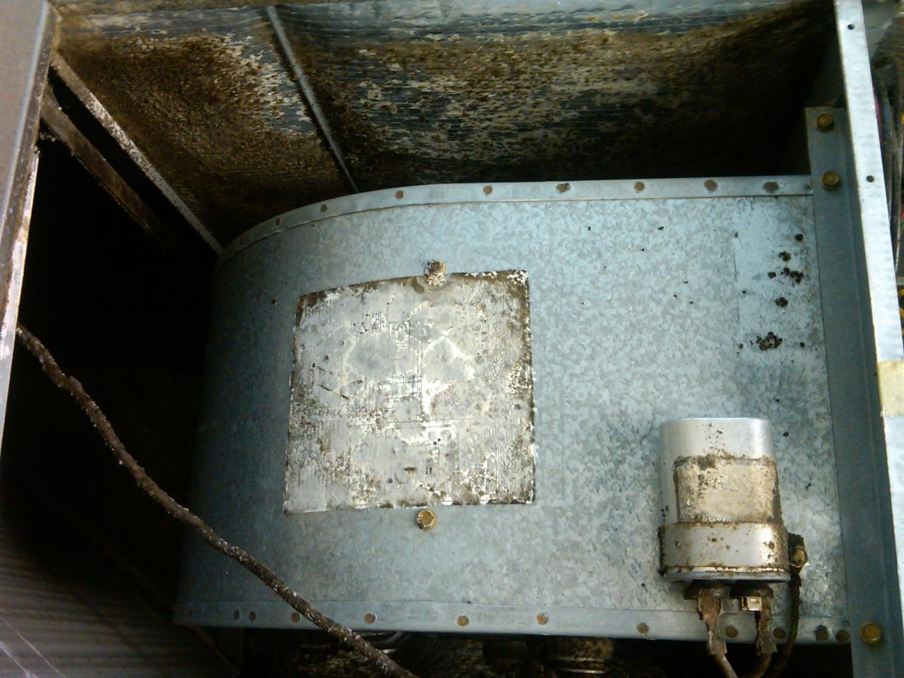 Overhead view of another blower, notice the silver insulation on either side of it is growing a mold.